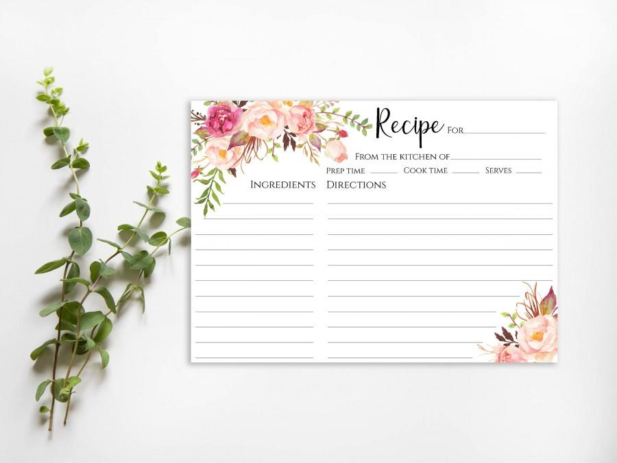 bridal shower recipe card sign template floral recipe cards 5x7 instant download pdf jpeg