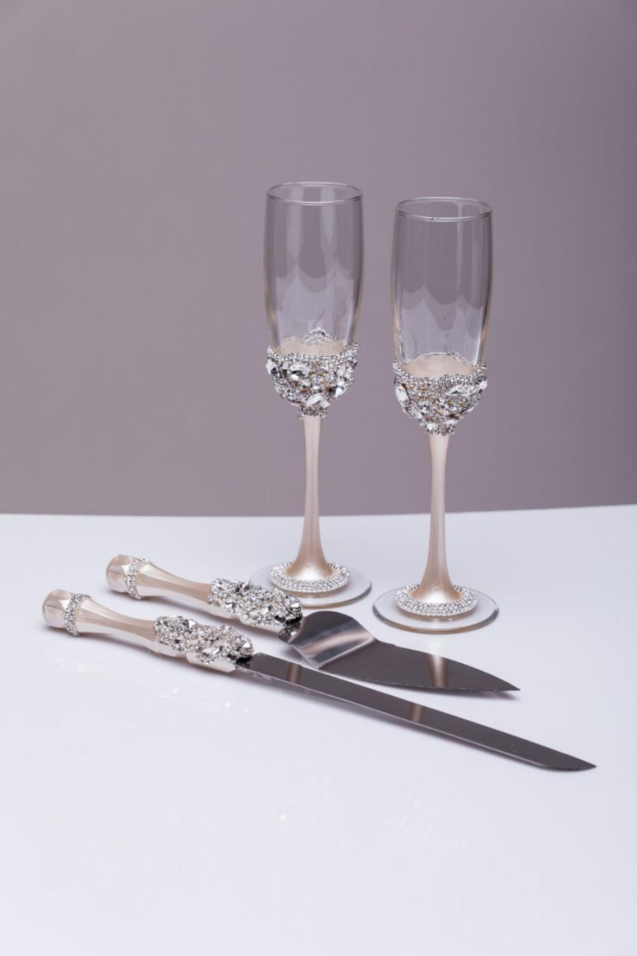 Wedding Silver Gles And Cake Server Set Knife Bride Groom Toasting Flutes Champagne Of 4