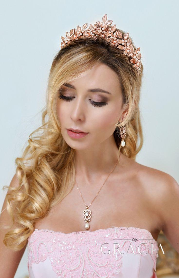 Mariage - SARA Rose Gold Leaf Grecian Wedding Tiara Crown With Flowers
