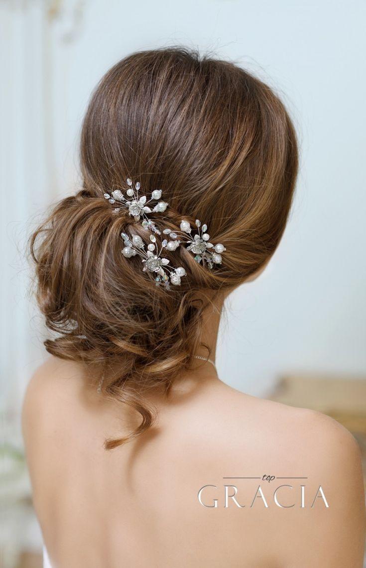 Wedding - SELENE Silver Rose Pearl Bridal Hairpins