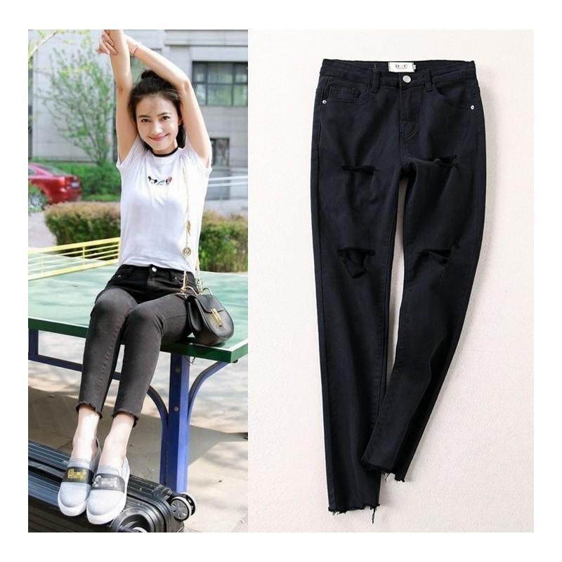 Wedding - Vogue Simple Ripped Slimming Cowboy Trendy Flexible Black Long Trouser - Lafannie Fashion Shop