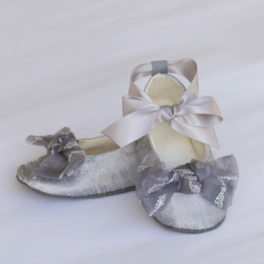 Silver Silk Flower Shoe Platinum Toddler Ballet Slipper Baby Flat Little S Wedding Bootie Souls
