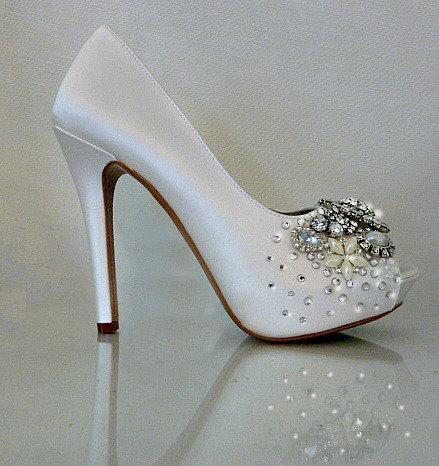 Ivory Silk Wedding Shoes Crystal And Pearl Bridal Heels