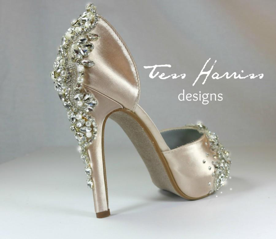 Sparkling Champagne Wedding Shoes .. Champagne Bridal Shoes . Blush ...