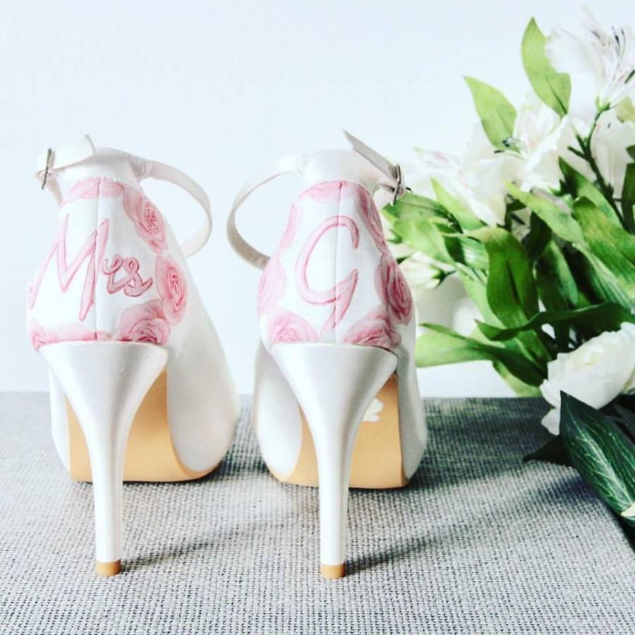 Свадьба - Pink Rose & Personalised Name Hand-painted Custom Wedding Shoes