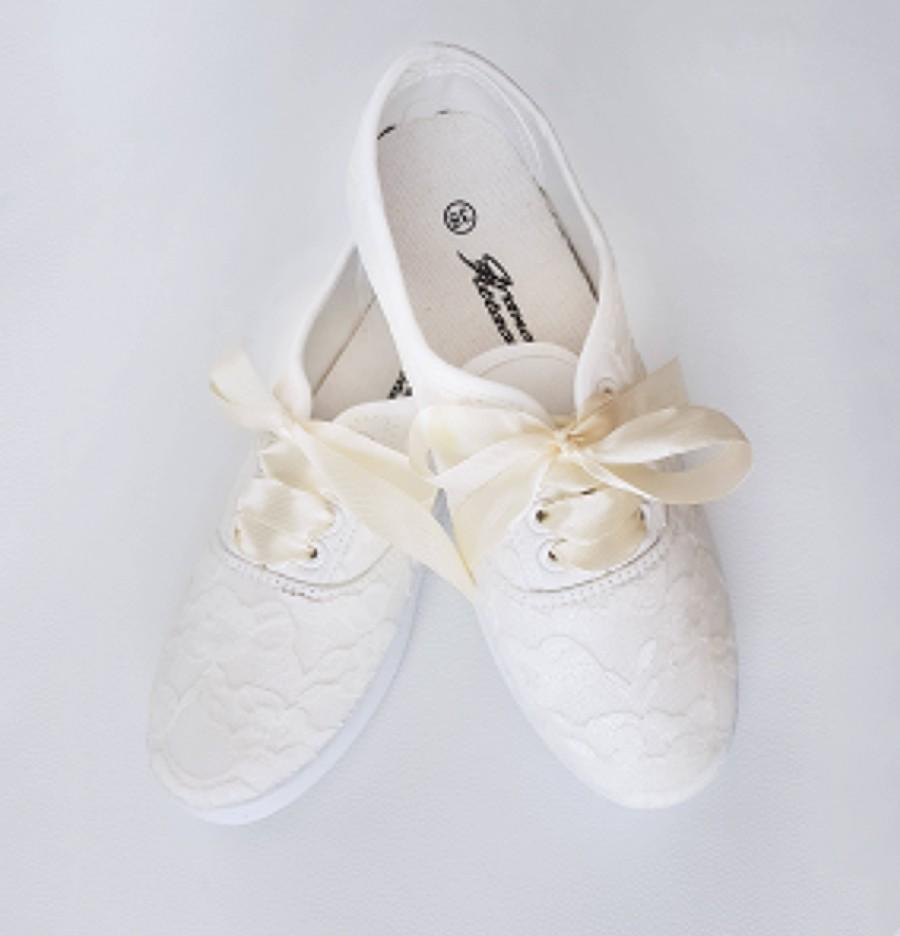 Свадьба - Hand Painted and Decorated Lace Sneakers Wedding Shoes Bridal Just Married Birtyhday Party Even Gift for Friend