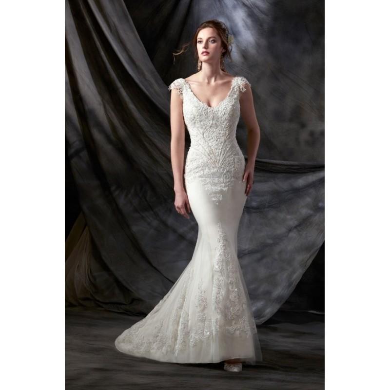 Свадьба - Style C8031 by Karelina Sposa Exclusive - Chapel Length V-neck Cap sleeve Floor length LaceNet Sheath Dress - 2018 Unique Wedding Shop