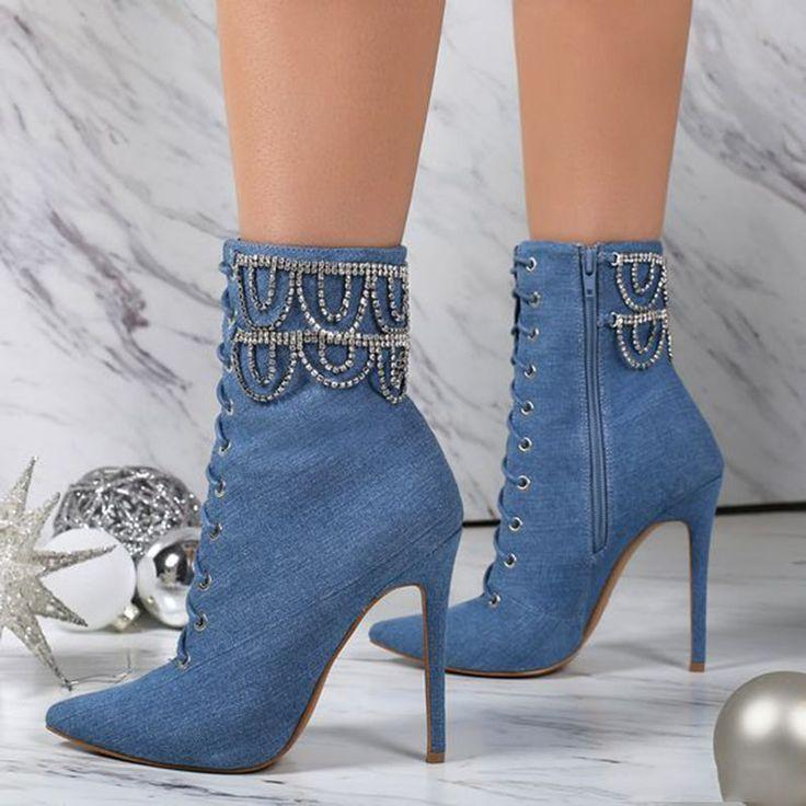 Wedding - Denim Blue Beaded Fashion Booties