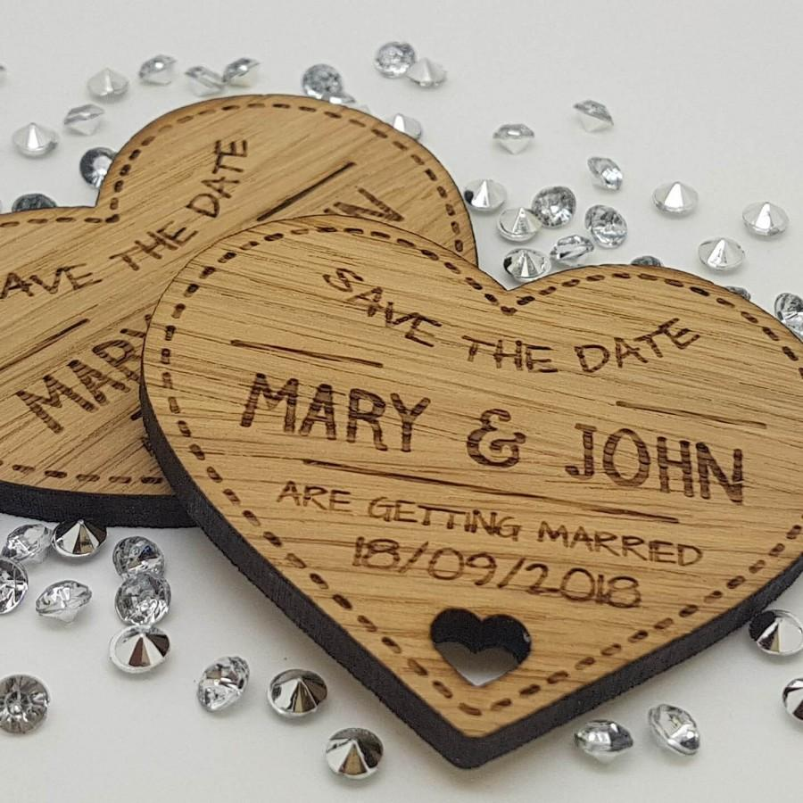 Hochzeit - Personalised Engraved Rustic Wooden Heart Save The Date Fridge Magnets Invites