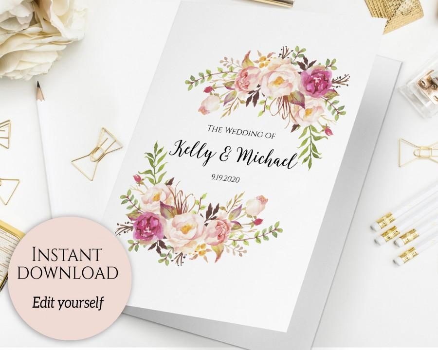 folded wedding program template folded ceremony template printable