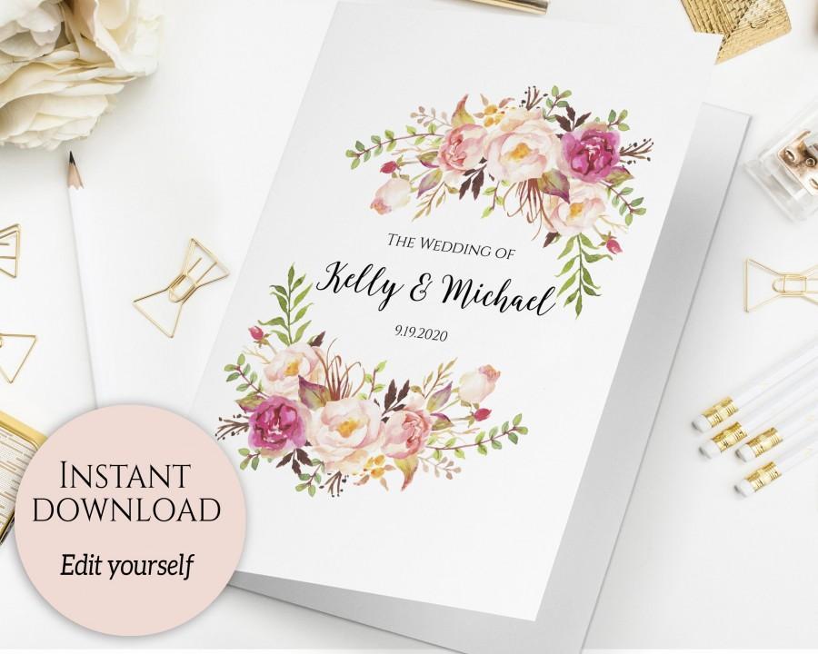 Folded Wedding Program Template Ceremony Printable Order Of Editable C1