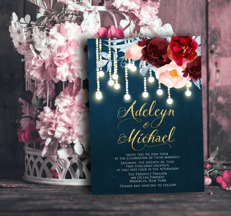 زفاف - Navy blue Marsala Wedding Invitation printable - wedding invitation set, elegant wedding invitation, string lights wedding
