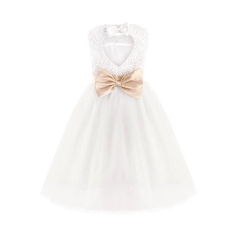 Hochzeit - White Lace Flower Girl Dress with Heart Cutout Back - Similar to David's Bridal - Hand-made Beautiful Dresses