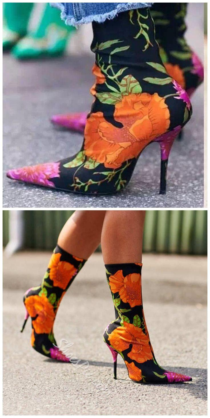 Wedding - Sexy Floral High Stiletto Heels Fall Boots