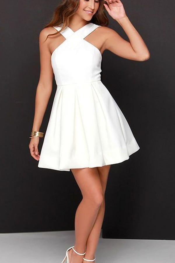زفاف - A-line Chiffon Satin White Short Prom Dress Homecoming Dress PG149