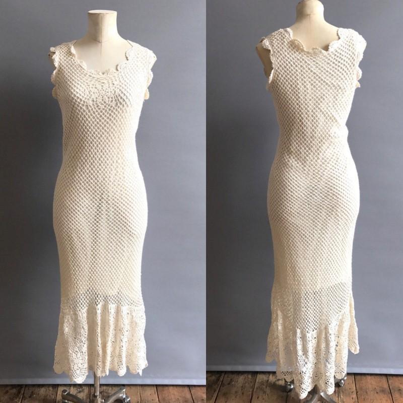 Свадьба - 1970's Boho Crochet Wedding Gown - Hand-made Beautiful Dresses