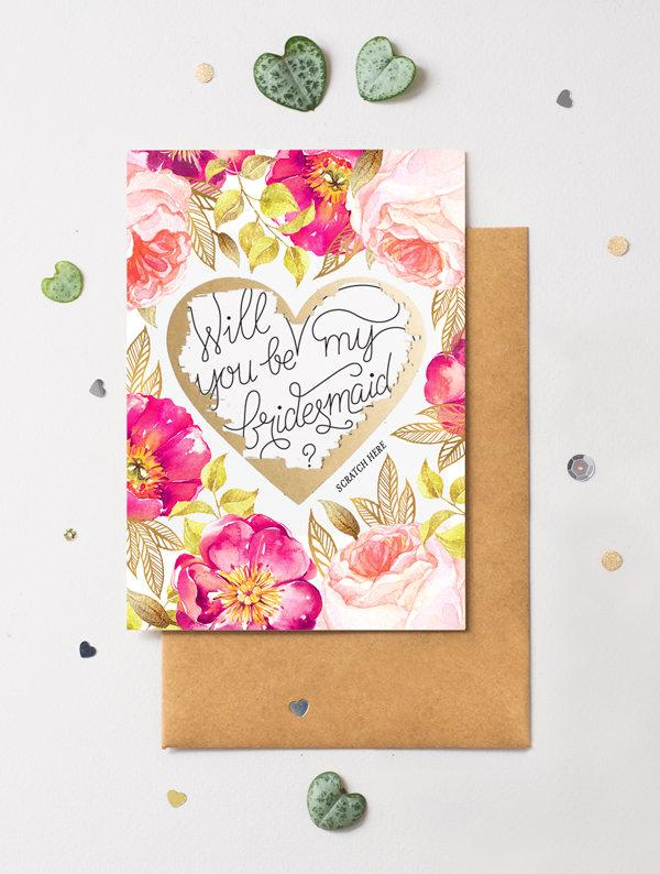 Wedding - Bridesmaid Proposal Scratch Off Card Heart Floral No. 2