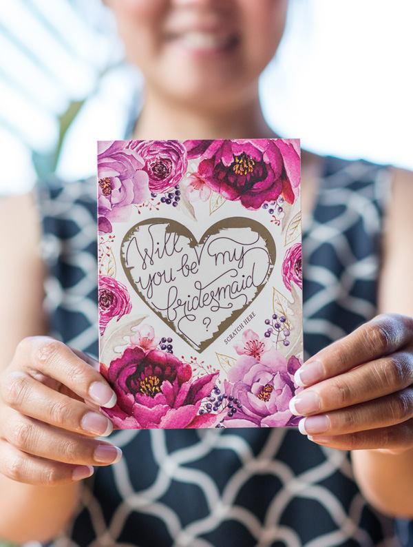 Ask Bridesmaid Maid Of Honor Proposal Scratch Off Card Heart