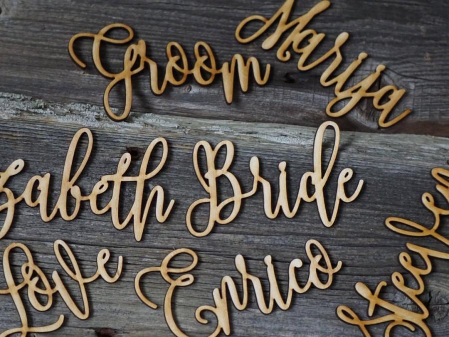 زفاف - 10 Laser cut wood names Custom Laser Cut Name signs wedding place cards Lasercut wood