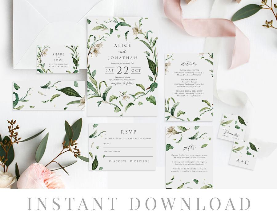 green leaves wedding invitation set instant download wedding invite