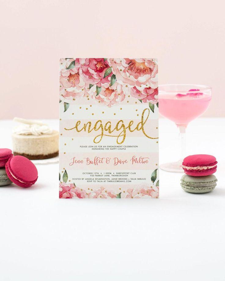 "Wedding - ""Jenn"" Peonies   Blush Stripe Engagement Party Invitation"