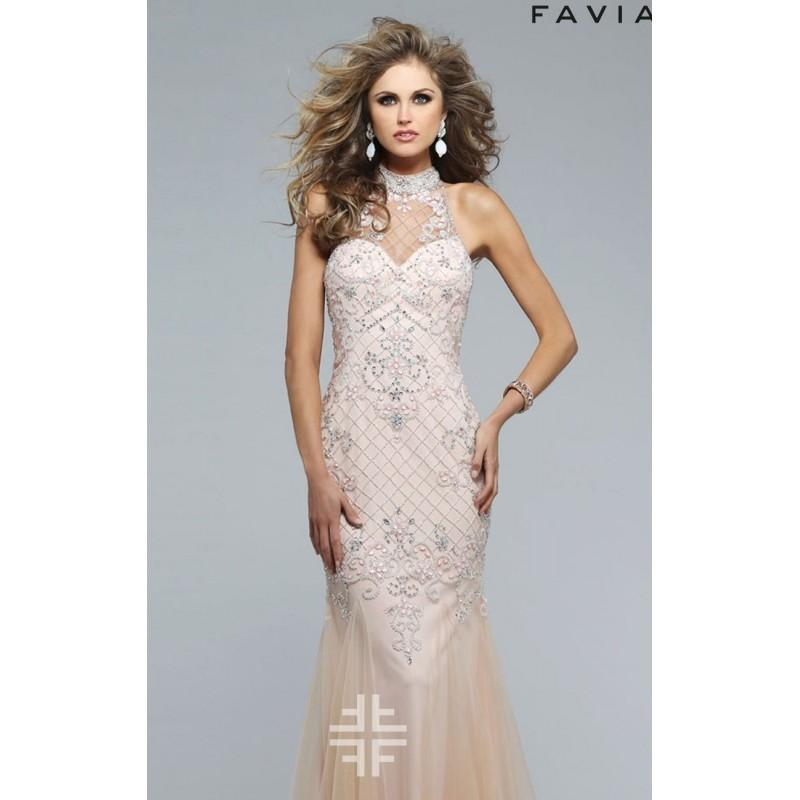 Hochzeit - Soft Peach Jewel Neck Godet Tulle Gown by Faviana - Color Your Classy Wardrobe