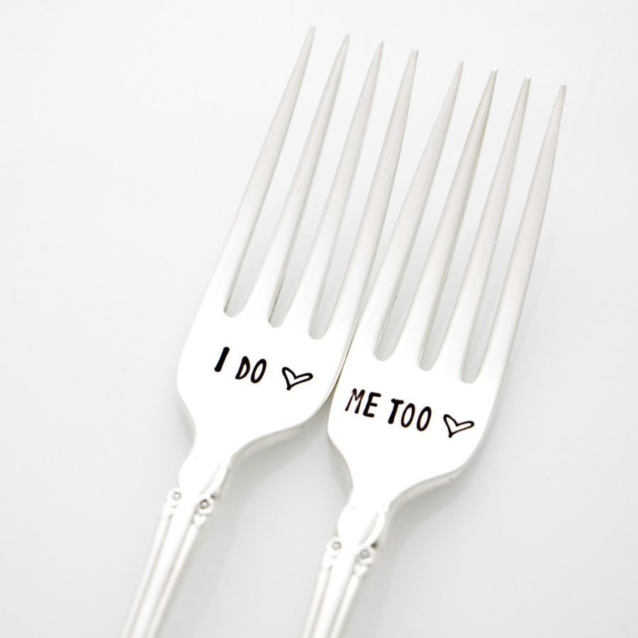 Hochzeit - Wedding Forks, I Do Me Too silverware. Vintage hand stamped flatware by Milk & Honey