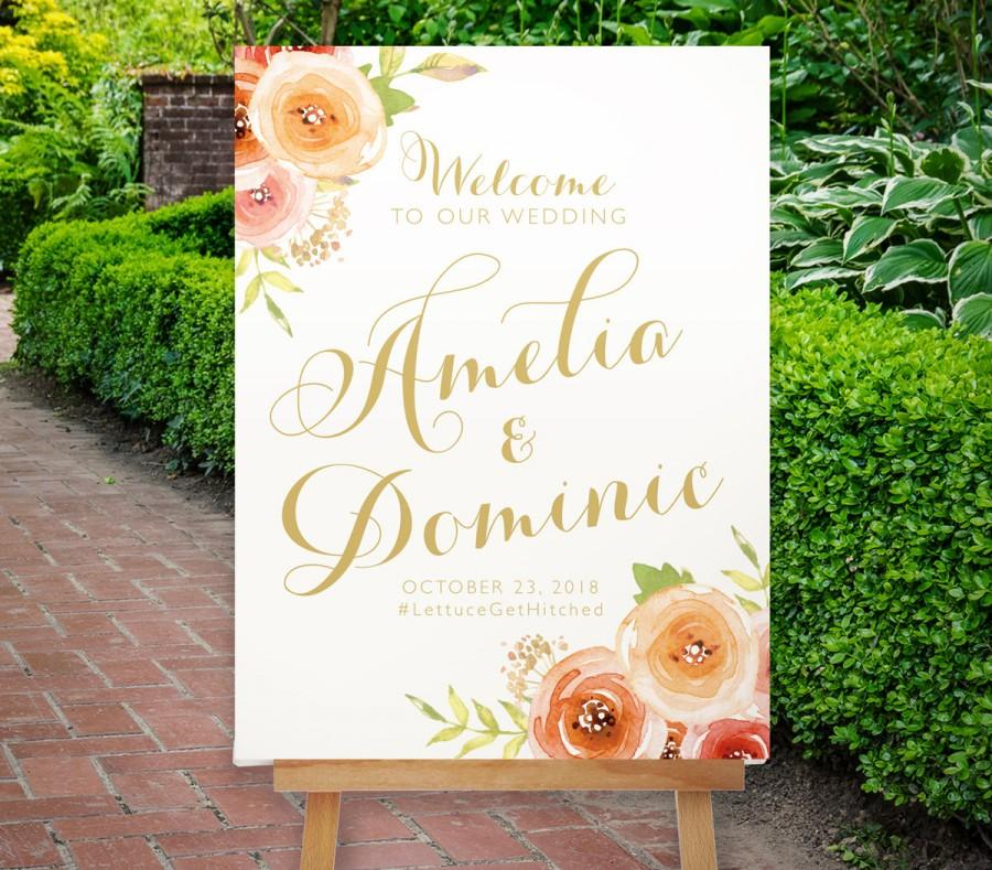 Wedding - Wedding Welcome Sign, Reception Sign, Floral Welcome Sign, Boho, Pink Gold, The Bloomfield Collection