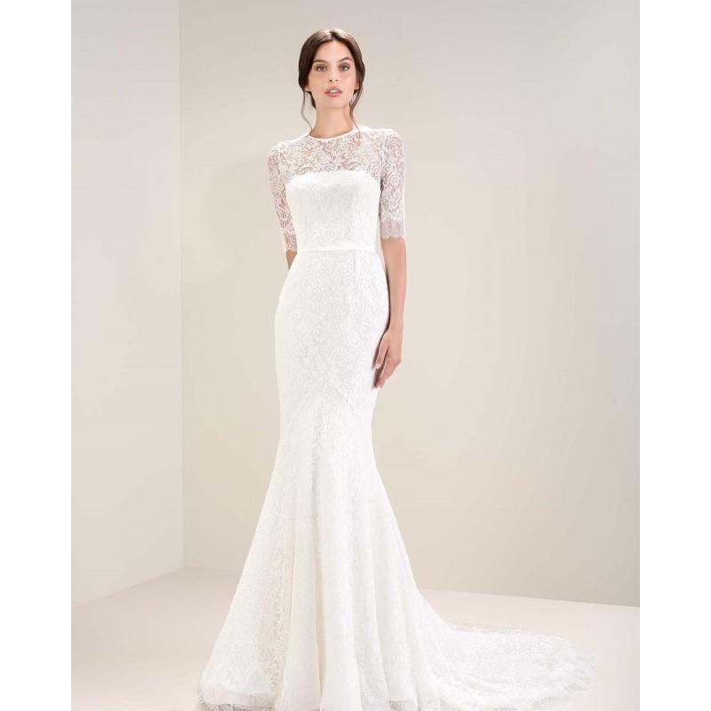 Hochzeit - 7074 (Jesús Peiró) 2017 Mirtilli 7074 Sirena Ilusión Largo Con mangas - Vestidos de novia 2018