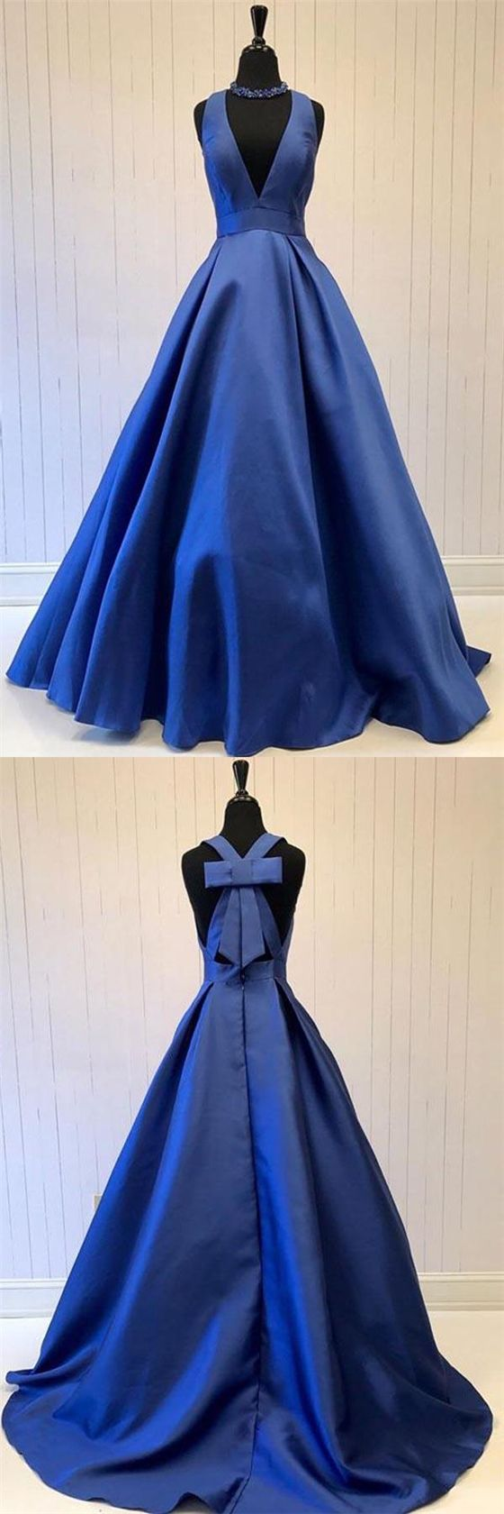 Wedding - V-neck Royal Blue Satin A-line Prom Dresses, Special Back Design Prom Dress, Prom Dresses, PD0359