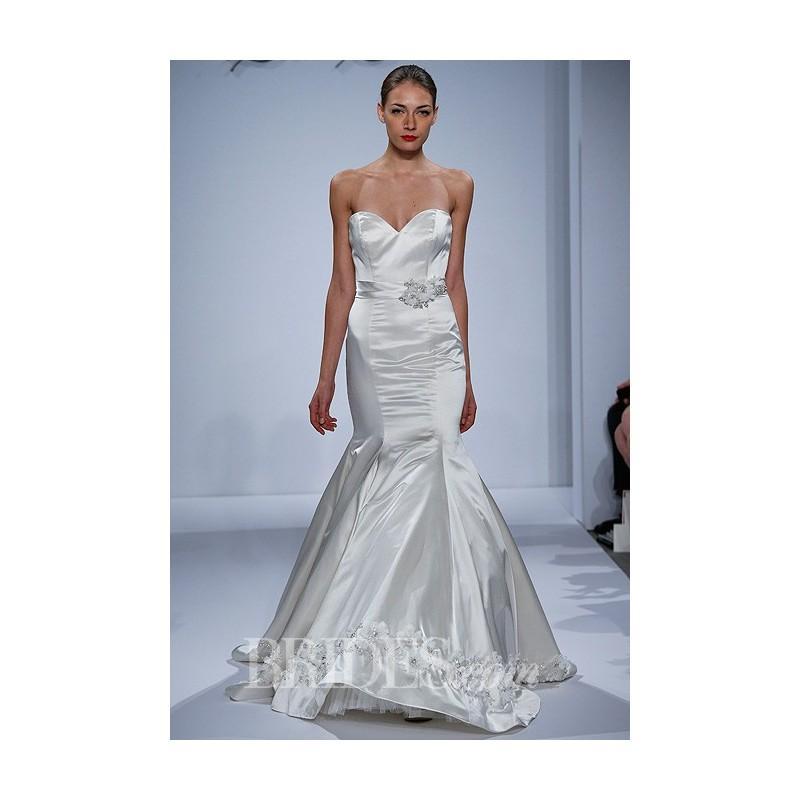 Wedding - Dennis Basso for Kleinfeld - Spring 2014 - Strapless Silk Satin Mermaid Wedding Dress with Organza Flowers at Hem - Stunning Cheap Wedding Dresses