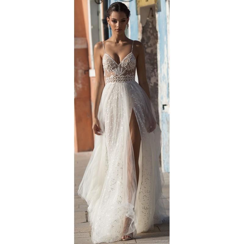 Wedding - Gali Karten 2018 Sweep Train Split Nude Spaghetti Straps Sleeveless Aline Beading Tulle Bridal Dress - Stunning Cheap Wedding Dresses