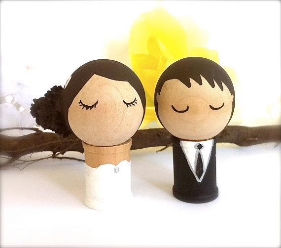 Wedding - WEDDING CAKE TOPPER Bride and Groom Custom Kokeshi Dolls Cupcake Toppers Cute Japanese Style Wedding Cake Toppers Wood Peg Dolls Whimsical