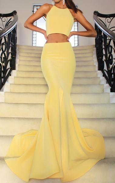 Wedding - Mermaid Two Piece Jersey Prom Dress Yellow Formal Evening Gown