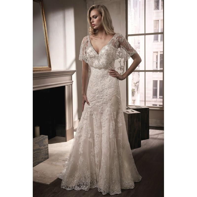 Mariage - Style T192008 by Jasmine Couture - Gold  Ivory  White Lace Cover-up Floor V-Neck Fit and Flare Short Wedding Dresses - Bridesmaid Dress Online Shop