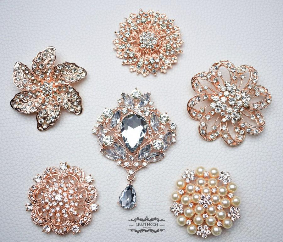 "Mariage - 6 Rose Gold Ex Large Brooch Lot 2.2"" or Larger Pearl Crystal Button Pin Wedding Bouquet Brooch Bouquet Embellishment Decoration Cake DIY"