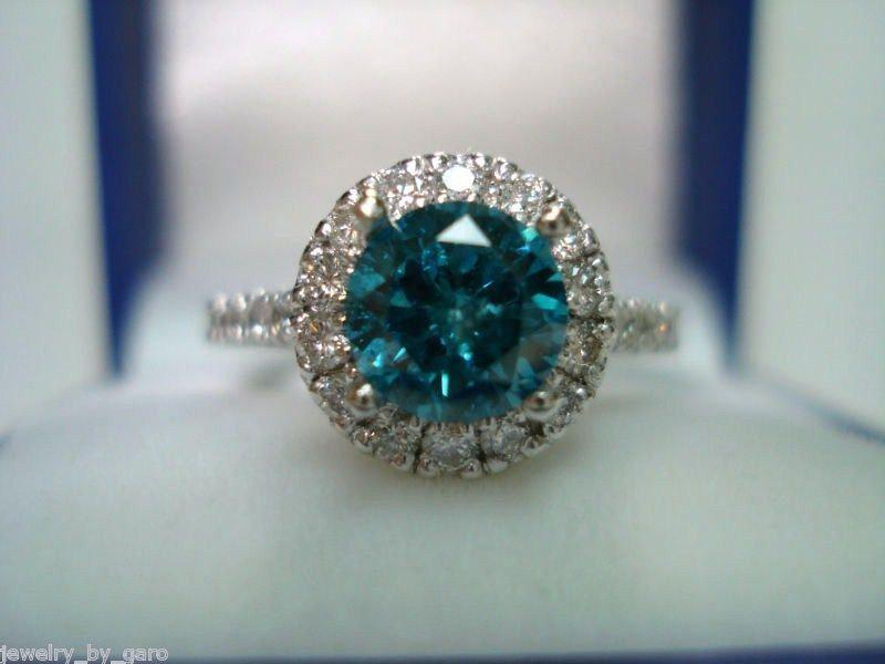 Mariage - 1.61 Carat Blue Diamond Engagement Ring, Blue Diamond Wedding Ring, 14K White Gold Certified Handmade Ring