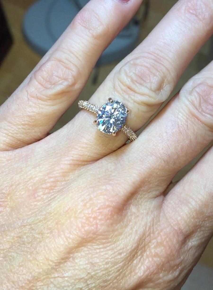 Wedding - Oval Moissanite Engagement Ring 2.10ct Forever One Ring 47.ct Natural Diamonds Hidden Halo Wedding Ring Rose Gold  Pristine Custom Rings