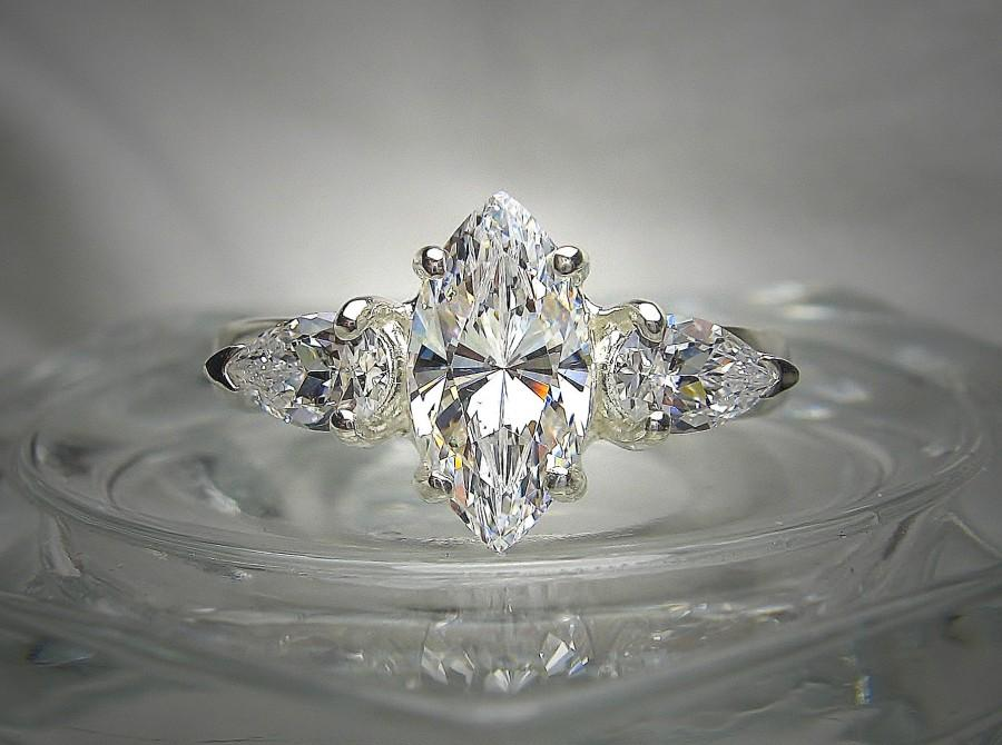 Wedding - Marquise Cut 12x6mm (2 cts) and 6x4mm (1/2 ct ea) Pear Cut Cubic Zirconia Sterling Silver Three Stone Ring Made to Order