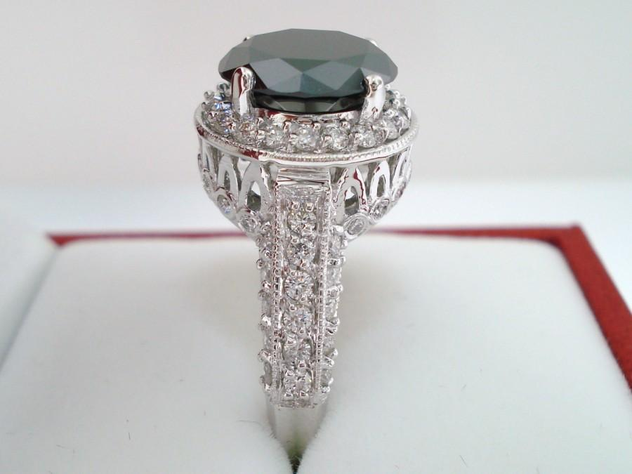 Wedding - Huge 6.29 Carat Fancy Black & White Diamond Engagement Ring 14k White Gold handmade Certified