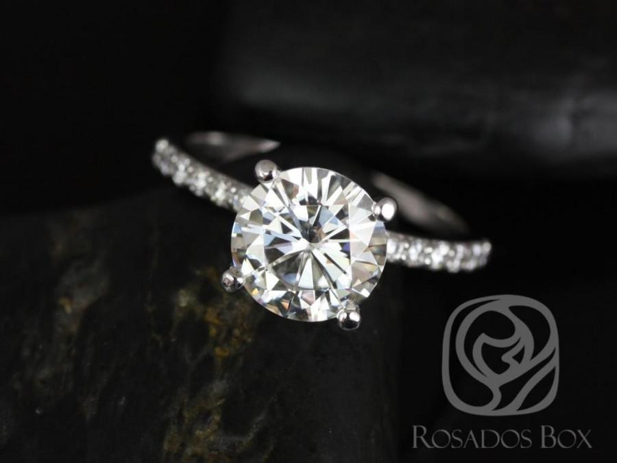 Wedding - Rosados Box Sarah 8.5mm 14kt White Gold Round F1- Moissanite and Diamonds Classic Non-Cathedral Engagement Ring