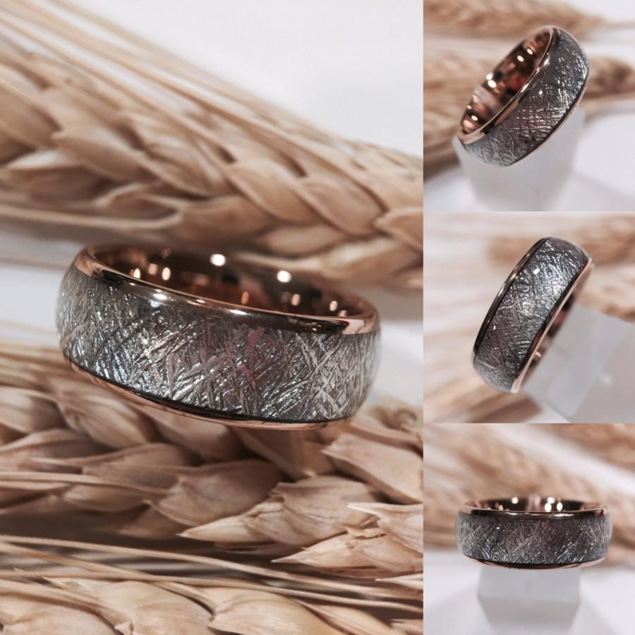It is a photo of Wedding Bands, Rose Gold Wedding Bands, Meteorite Ring, Engagement