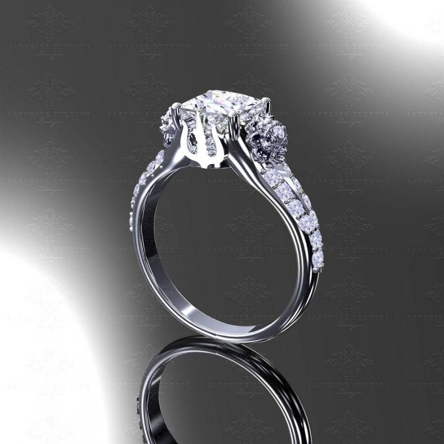 زفاف - Eternal - Princess Cut White/Rose Gold Final Fantasy Inspired Ring - Choose your metal