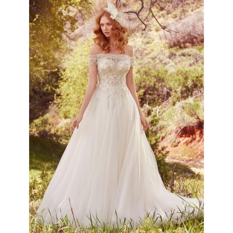 6ff2bbd7e31 Maggie Sottero Spring Summer 2017 Iris Chapel Train Sweet Ball Gown Off-the-shoulder  Tulle Beading Crystal Buttons Wedding Dress - 2018 Unique Wedding Shop
