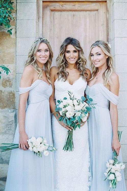 Light Blue Bridesmaid Dresses Long Boho Rustic Wedding Maid Of Honor Fs068