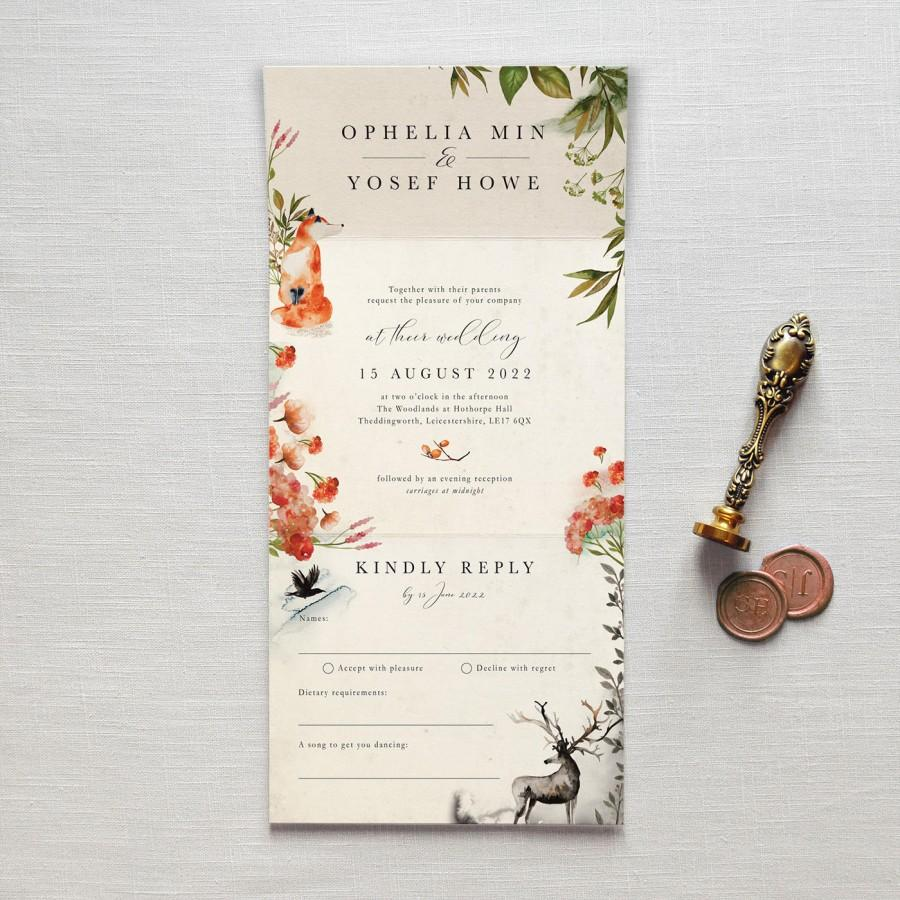 Wedding - Once Upon A Time - All-in-one wedding invitation. No envelope needed -simply pop it in the post. Rustic autumnal woodland, fox, deer & raven