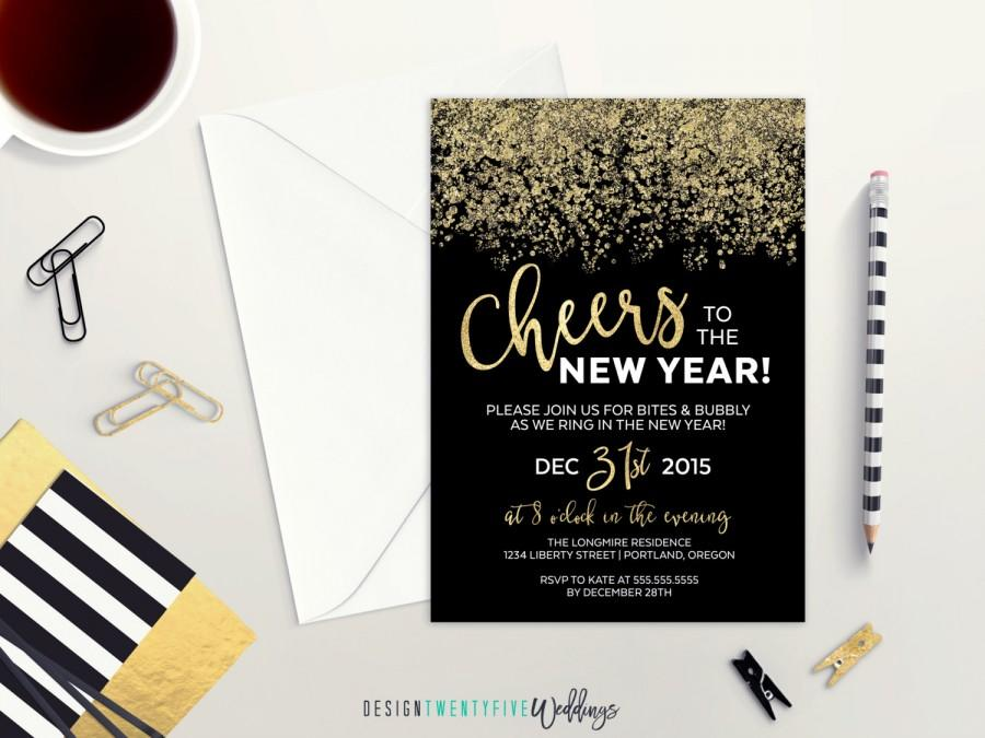 new years eve party invitation 5x7 black gold custom invitation cheers to the new year