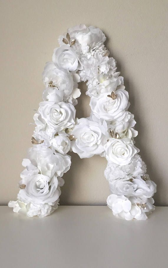 White Floral Letter White Flower Decor White Wedding Flower Decor