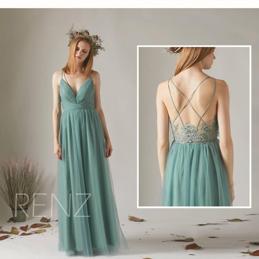 Hochzeit - Bridesmaid Dress Dusty Green Tulle Dress,Criss Cross Straps Party Dress,Lace Illusion Evening Dress,V Neck Maxi Dress Wedding Dress(HS540)