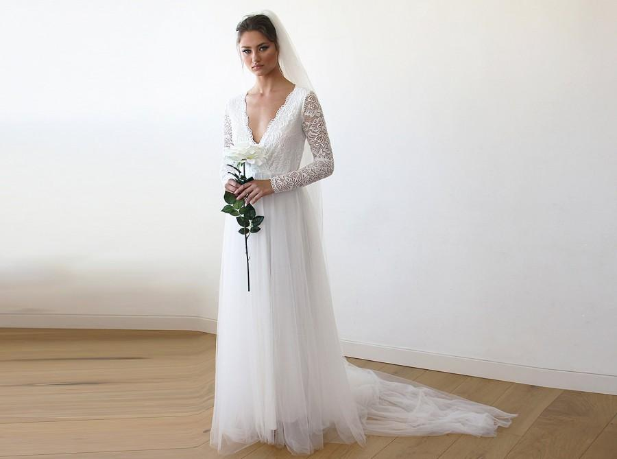 Wedding - St Patrick Day Sale Ivory Tulle and Lace Long Sleeve Wedding Train Gown 1164